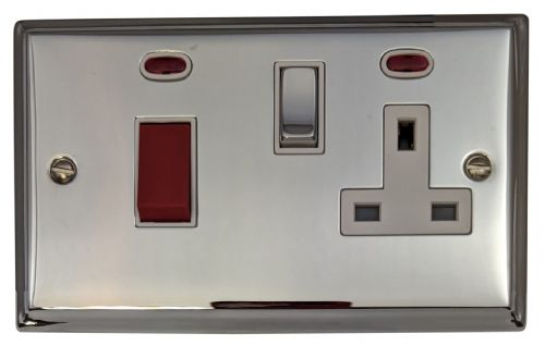 G&H DC229 Deco Plate Polished Chrome 45 Amp DP Cooker Switch & 13A Switched Socket